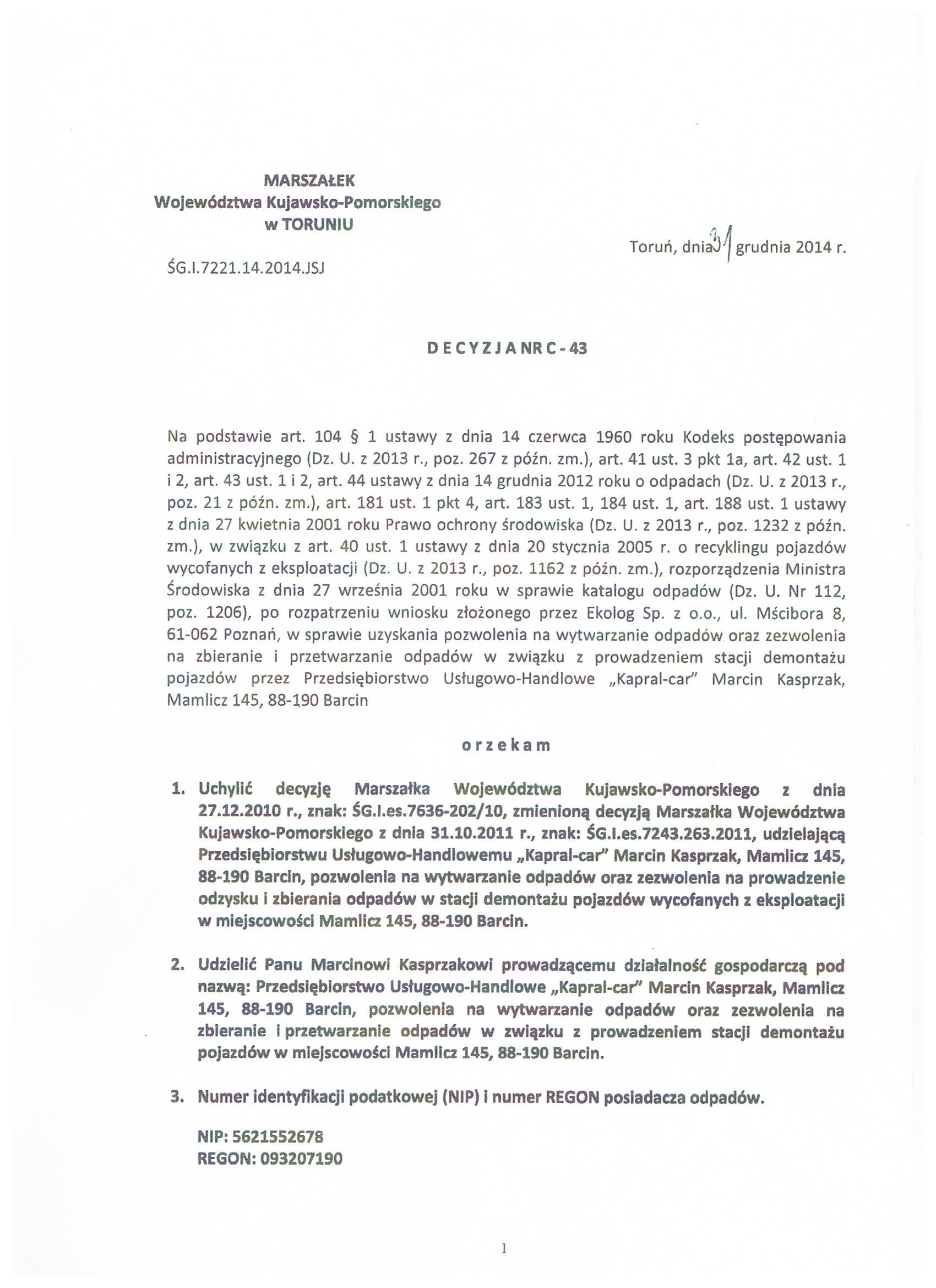 Upoważnienie Marszałka dla Kapral-Car Stacji Demontażu Pojazdów C-43